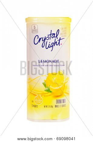 Hayward, CA - July 24, 2014: container with 6 quart packets of Crystal light lemonade drink mix