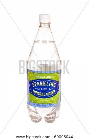 Hayward, CA - July 24, 2014: Bottle of Trader Joe's brand natural Mineral Water with lime flavor added