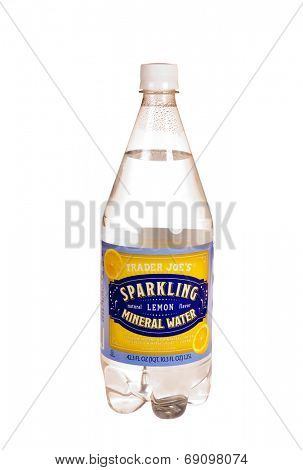 Hayward, CA - July 24, 2014: Bottle of Trader Joe's brand natural Mineral Water with lemon flavor added