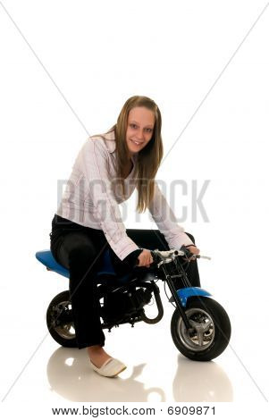 Youngster With Her Pocketbike