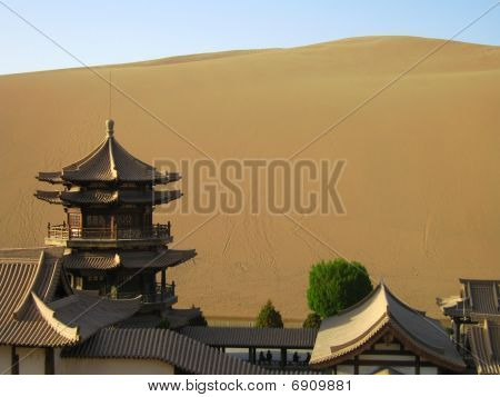 Dune behind an old aisan temple