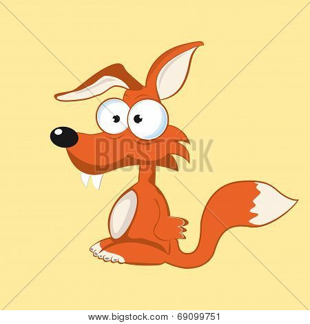 Stock funny fox with bulging eyes eps