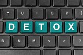 stock photo of cleanse  - detox turquoise word on keyboard - JPG