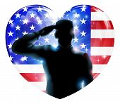 image of salute  - Illustration for 4th July Independence Day or veterans day of a soldier saluting in front of American flag shaped as a heart - JPG