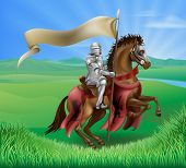 stock photo of jousting  - A red medieval knight in armor riding on horseback on a brown horse holding a flag or banner in green field of grass with lion insignia - JPG