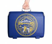 picture of nebraska  - Used plastic suitcase with stains and scratches printed with flag Nebraska - JPG