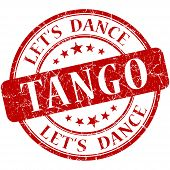 stock photo of tango  - Tango red vintage grungy isolated round stamp - JPG