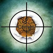 image of white collar crime  - Close up of Crimes text in target - JPG
