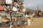 image of scrap-iron  - Large blocks of low grade steel at a metal recycle scrap yard - JPG
