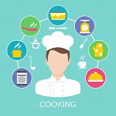 pic of pastry chef  - Delicatessen cooking culinary pastry chef classes advertisement with kitchen pictograms composition poster placard flat vector abstract illustration - JPG