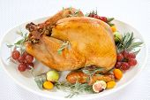 pic of kumquat  - Roasted turkey on tray garnished with red grapes figs kumquat and herbs over white background - JPG