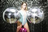 Beautiful Sexy Disco Dj Woman In Lingerie Surrounded By Discoballs poster