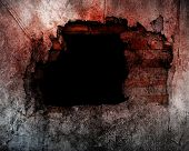 stock photo of scary  - Hole On Broken Concrete Wall Use For Horror Or Scary  Scene - JPG