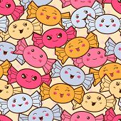 stock photo of kawaii  - Seamless kawaii cartoon pattern with cute candies - JPG