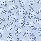 foto of kawaii  - Seamless kawaii cartoon pattern with cute spiders - JPG
