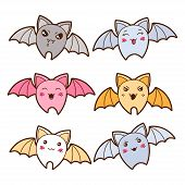 stock photo of kawaii  - Set of kawaii bats with different facial expressions - JPG