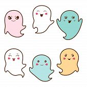 pic of kawaii  - Set of kawaii ghosts with different facial expressions - JPG