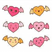 picture of kawaii  - Set of kawaii hearts with different facial expressions - JPG