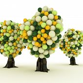 foto of gumballs  - Illustration of gumball trees isolated on white background - JPG