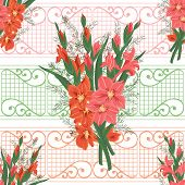 picture of gladiolus  - Illustration of seamless floral pattern with pink and red gladioluses and ornamental background - JPG