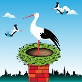 picture of stork  - Abstract colorful illustration with clouds - JPG