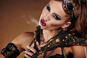 image of steampunk  - Steampunk woman over gunge background - JPG