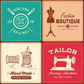 stock photo of tailoring  - Collection of vintage sewing and tailor design element - JPG