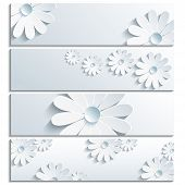 ������, ������: Set Of Beautiful Banner With 3D Chamomile Gray