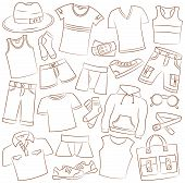 stock photo of boxer briefs  - Collection of summer menwear and accessories on white - JPG