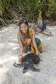 foto of green turtle  - Turtle Island Guimaras Philippines  - JPG