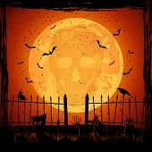 picture of skull cross bones  - Scary Halloween night background skull on orange Moon background illustration - JPG