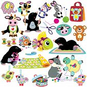 picture of mole  - set with cartoon mole and mouse sewing toys - JPG