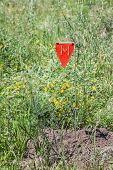 stock photo of landmines  - Minefield danger sign in a war area - JPG