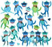 picture of sock-monkey  - Collection of Boy Themed Sock Monkey Vectors - JPG