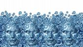 image of collaboration  - Teamwork concept as a working business group of human heads shaped with machine gears and cog wheels connected together as a technology symbol for future computing collaboration through social media on a white background - JPG