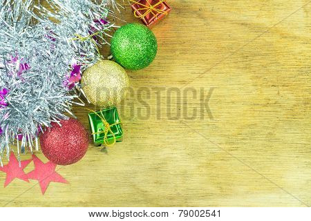 Close Up Christmas Collection On Wood Background