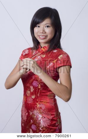 Chinese New Year Girl Giving Greeting