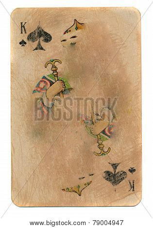 Old Rubbed Playing Card  King Of Spades Paper Background