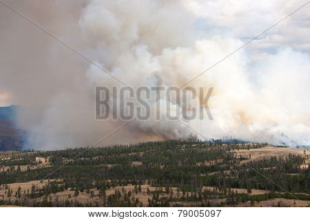 Fire Clouds On Horizon Of Yellowstone Park