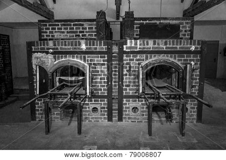 Vintage looking black and white of Dachau crematorium #2