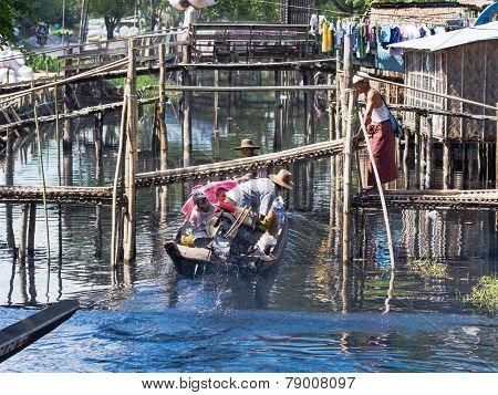 Local Ferry In Maubin, Myanmar