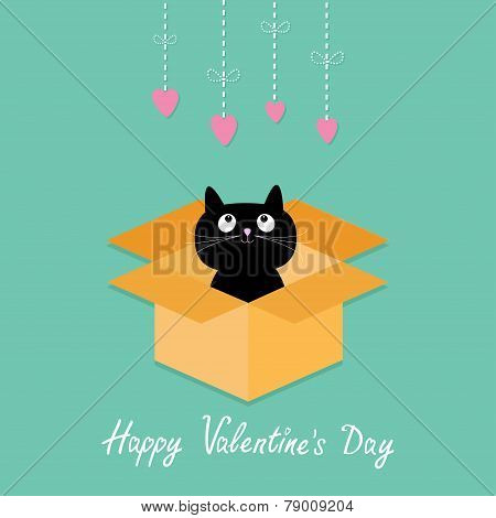 Cat Inside Opened Cardboard Package Box. Hanging Hearts. Happy Valentines Day Card Flat Design Style