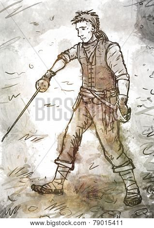 Drawing Of Young Pirate With A Sword And Dagger