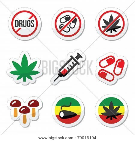 Drugs, addiction, marijuana, syringe colorful labels set