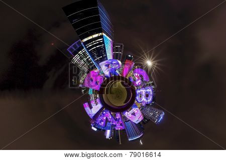 Brisbane city small Planet by Night