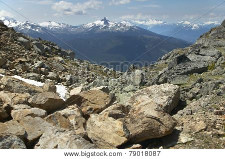 Whistler Landscape With Rocks And Mountains. British Columbia. Canada
