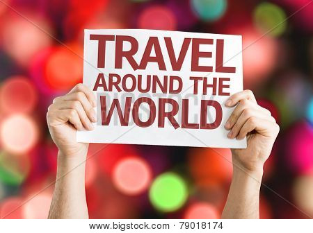Travel Around the World card with colorful background with defocused lights