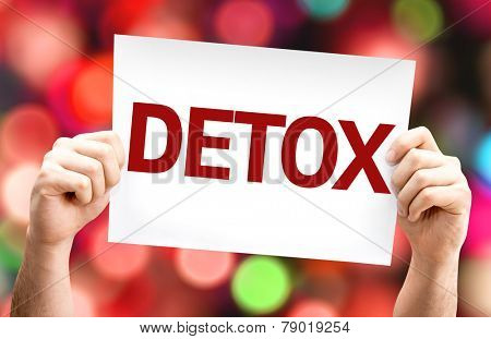 Detox card with colorful background with defocused lights