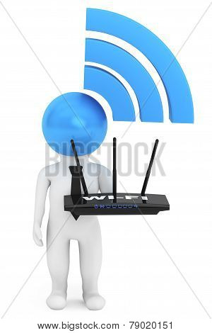 3D Person With Wifi Sign And Router