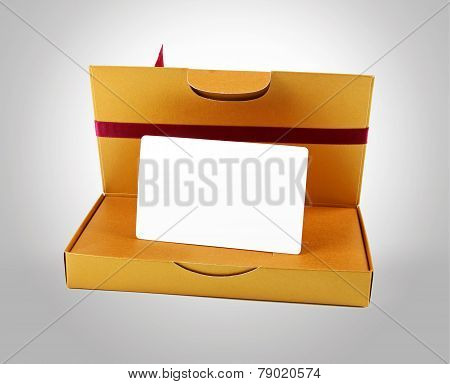 Golden Gift Box With Blank Gift Card Inside